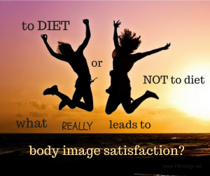dieting and body image satisfaction, sunset, 2 happy people jumping