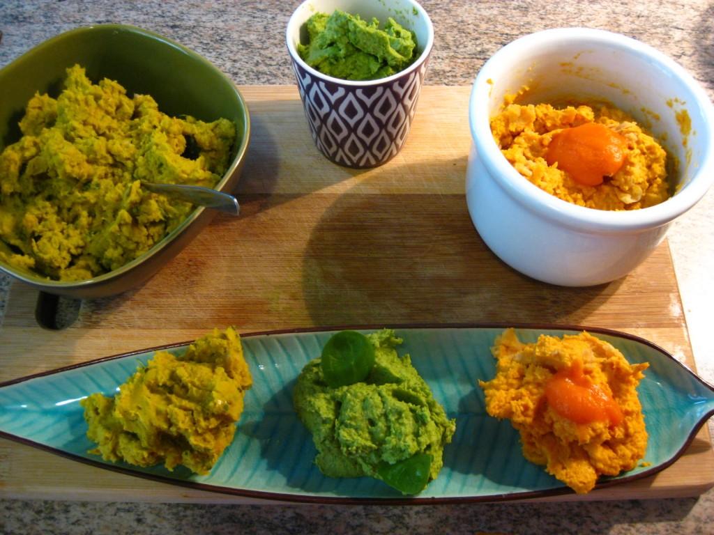 3 selbst-gemachte Hummus Sorten