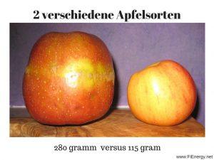 2 verschiedene großen an Äpfeln, Apfelgröße im Vergleich