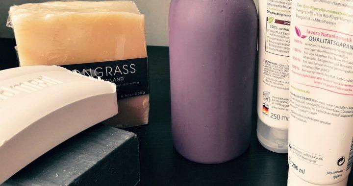 bar soap, plastic bottles