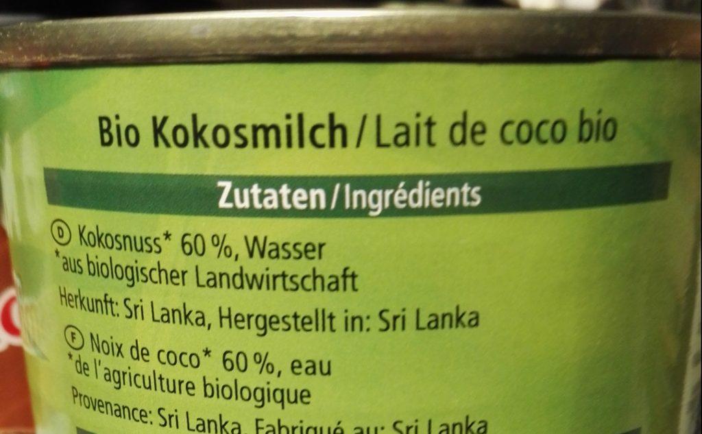zutaten kokosmilch alnatura