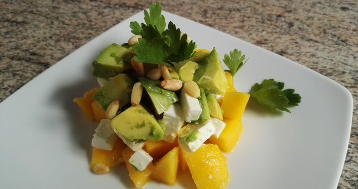 3 layered spring appetizer mango cheese avocado