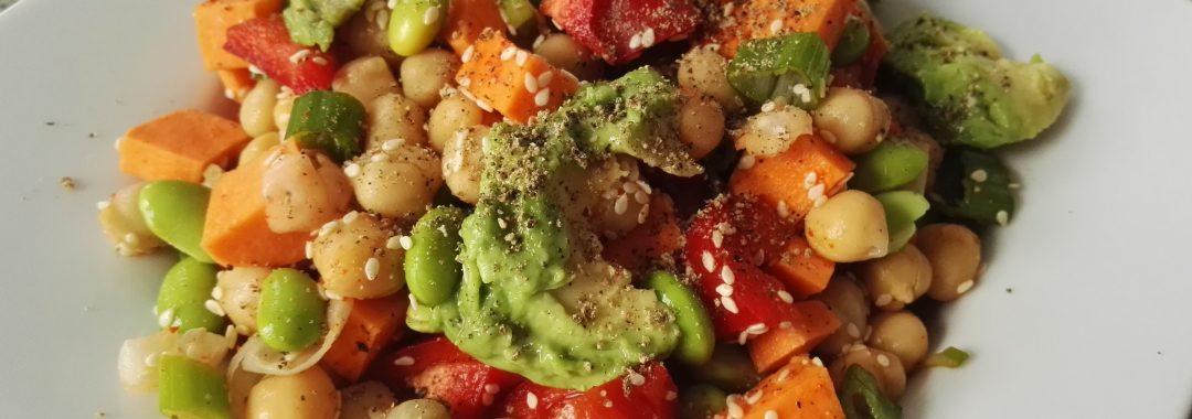 Süßkartoffel und Kichererbsen Salat, Rezept, Yvi, Wien